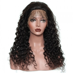 Cheap Human Full Lace Front Wigs Realistic Looking Loose Curly Human Hair with Baby Hair Pre-Plucked Natural Hair Line 150% Density Bleached Knots