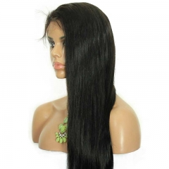 Long Black Lace Front Wig Silky Straight Natural Color Human Hair Natural Hair Line Ponytail Wigs Brazilian Wigs 180% Density