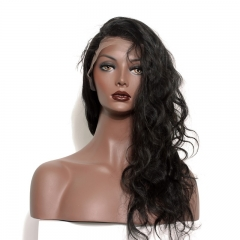 Human Hair Lace Wigs with Baby Hair Elastic Cap Body Wave Human Hair Lace Front Wig With Natural Hair Line Bleached Knots