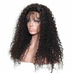Black Human Hair Lace Front Wigs Natural Hair Line 150% Density Natural Color Human Hair Deep Curly Brazilian Hair Wig Bleached Knots