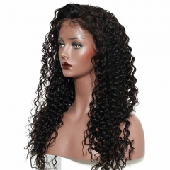 Deep Wave Real Human Full Lace Wigs Pre-Plucked Natural Hair Line 180% Density Wigs No Shedding No Tangle Bleached Knots With Natural Baby Hair
