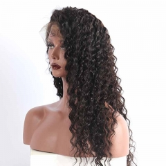 Full Lace Wigs Deep Wave Best Quality  Human Hair Wigs 180% Density No Tangle Pre-Plucked Natural Hair Line Bleached Knots