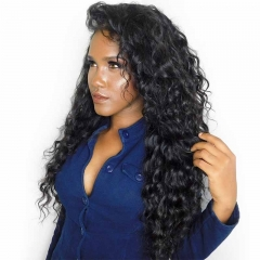 Full Lace Ponytail Wigs Loose Wave With Natural Baby Hair Pre-Plucked Natural Hairline 150% Density Glueless Wig Bleached Knots For Sale