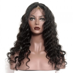Full Lace Wigs 130% Density Natural Black Loose Wave Brazilian Hair Glueless Lace Wig Bleached Knots Pre Plucked