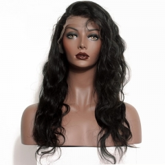 Full Lace Wig Black Brazilian Virgin Human Body Wave Hair Bleached Knots Cheap Glueless Wigs Pre-Plucked Natural Hair Line