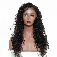 Real Looking Full Lace Wigs Natural Hairline Brazilian Wig Pre-Plucked Natural Hair Line Deep Wave 130% Density