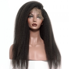 Natural Color Brazilian Virgin Human Hair Kinky Straight Full Lace Wigs With Natural Baby Hair Bleached Knots Pre-Plucked