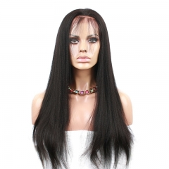 Affordable Human Full Lace Wigs Natural Black Light Yaki Brazilian Virgin Hair Full Lace Human Hair Wigs