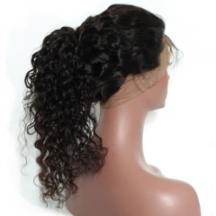 Natural Full Lace Ponytail Wigs Deep Wave With Baby Hair Pre-Plucked Natural Hair Line 150% Density Wigs