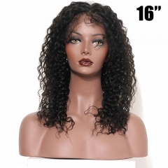 Full Lace Wigs Brazilian Hair Natural Black High Quality 16Inch 100% Human Virgin Curly Hair Glueless Lace Wig Natural Hairline with Baby Hair