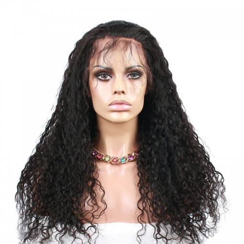 Natural Black Brazilian Human Hair Wig Water Wave Full Lace Wigs