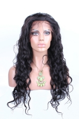 22 Inch Natural Black Loose Wave Brazilian Virgin 100% Human Hair Full Lace Wig With Part
