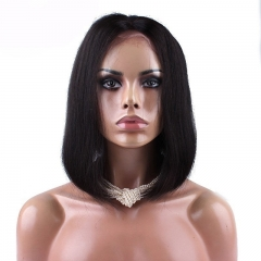 Full Lace Wigs Online 100% Human Hair Straight Bob Wig Bleached Knots 180% Density Natural Color Glueless Wig For Sale