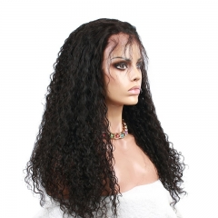 Natural Black High Quality Brazilian Virgin Human Hair Wig Water Wave Full Lace Wigs