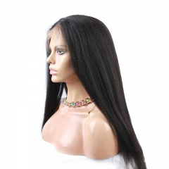 Virgin Hair Full Lace Wigs Top Quality Italian Yaki Wig With Baby Hair Bleached Knot Pre-Plucked Natural Color 100% Human Hair