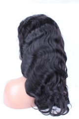 Natural Black Body Wave Peruvian Virgin Human Hair Wig Full Lace Wigs