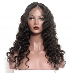 Black Full Lace Wig  Brazilian Ponytail Wigs Loose Wave 180% Density Pre-Plucked Natural Hair Line Bleached Knots