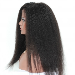 Pre-Plucked Natural Hair Line Kinky Straight Good Full Lace Human Hair Wigs With Baby Hair 150% Density Wigs