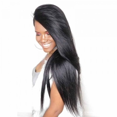 Full Lace Wigs 180% Density Cheap Brazilian  Human Hair Silk Straight Pre-Plucked Natural Hair Line