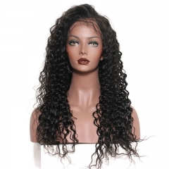 100 Percent Human Hair Full Lace Wigs Deep Wave 150% Density Pre-Plucked Natural Hair Line No Shedding No Tangle