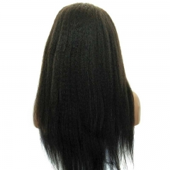 Kinky Straight Pretty Full Lace Human Hair Wigs Mongolian Virgin Hair Natural Black