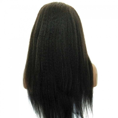 Kinky Straight Pretty Full Lace Human Hair Wigs Mongolian Remy Hair Natural Black