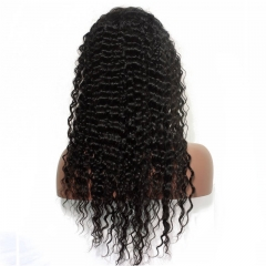 African American Human Hair Wigs Buy Silk Top Full Lace Wigs Natural Black High Quality 100% Brazilian Virgin Human Hair Wig Deep Wave