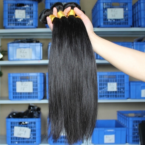 Great Hair Bundle Deals Silk Straight Peruvian Human Hair Weave 3 Bundles Natural Color