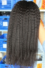 Natural Color Kinky Straight Malaysian Human Hair Weave 4 Bundle Deals
