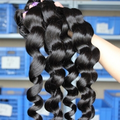 Malaysian Virgin Human Hair Extenxions Loose Weave Hair 4 Bundles Natural Color