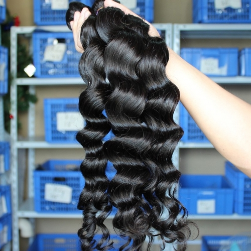 Malaysian Human Hair Extenxions Loose Weave Hair 4 Bundles Natural Color