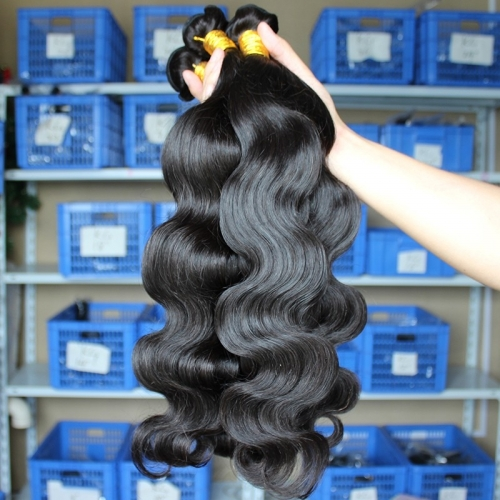 Affordable Natural Color Body Wave Peruvian Human Hair Weaves 4pcs Bundles