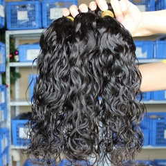 Natural Color Indian Remy Human Hair Estensions Weave Water Wave 4 Bundles
