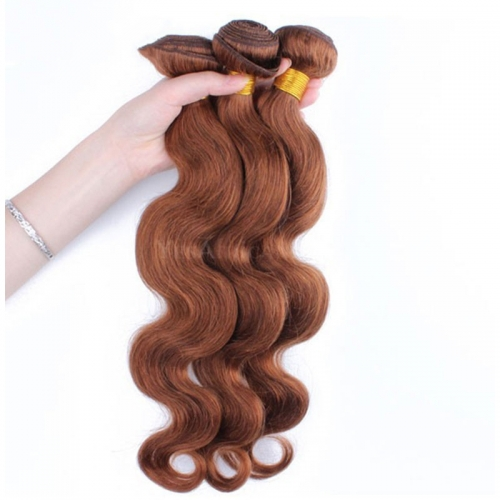 Color #30 Medium Brown Brazilian Remy Hair Body Wave Hair Weave 3 Buddles