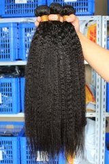 Kinky Straight Natural Color Brazilian Human Hair Weave 4 Bundles Deals
