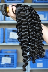 Natural Color Peruvian Virgin Human Hair Deep Wave Hair Weave 3 Hair Weave Bundle Deals