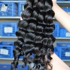 Affordable Natural Color Loose Wave Brazilian Virgin Human Hair Weaves 4pcs Bundles