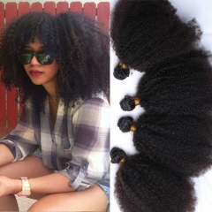 8A Grade 3pcs Lot Mongolian Afro Kinky Curly Human Hair Weaves Natural Black Afro Hair Bundles fast shipping