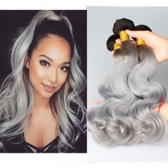 Color 1B/Grey Body Wave Brazilian Virgin Human Hair Weaves 3pcs Buddles For Sale