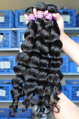 Indian Human Hair Extensions Weave Loose Wave 4 Bundles Natural Color