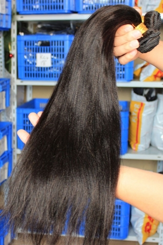 Peruvian Human Hair Yaki Straight Hair Weave Natural Color 3 Bundle Hair Deals