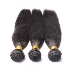 Italian Yaki Straight Brazilian Virgin Human Hair 3 Pcs/Lot Natural Color Hair Weave Bundles