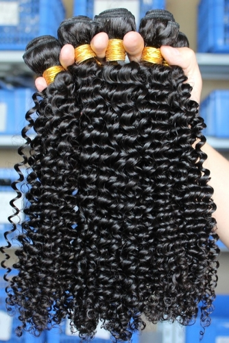 Affordable Kinky Curly Hair Weave Indian Remy Human Hair Natural Color 3 Bundle Deals