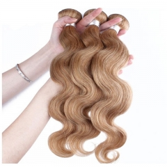 Best Website To Buy Bundle Hair Color #27 Honey Brown Body Wave Brazilian Remy Hair Weave 3pcs Buddles