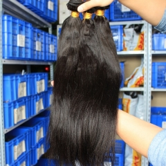 Peruvian Virgin Human Hair Yaki Straight Hair Weave Natural Color 3 Bundle Hair Deals