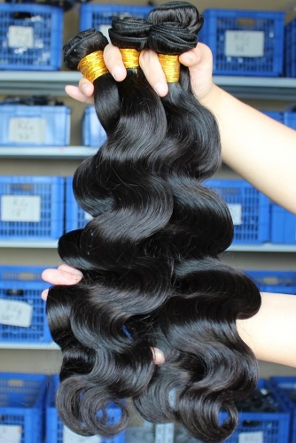 Natural Color Peruvian Human Hair Body Wave Hair Weave 3pcs Bundles0