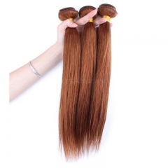 Color #30 Medium Brown Brazilian Virgin Hair Straight Hair Weave 3 Buddles Deals