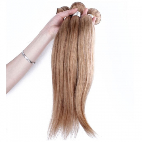 Best Website To Buy Bundle Hair Color #27 Honey Brown Straight Brazilian Human Hair Weave 3 Buddles