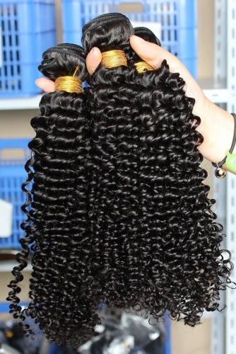Hair Bundle Deals Cheap Kinky Curly Hair Peruvian Human Hair Weave 3 Bundles Natural Color