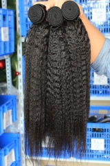 Affordable Natural Color Kinky Straight Peruvian Human Hair Weaves 4pcs Bundles